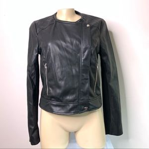 Zara TRF Womens Large Faux Leather Jacket Black
